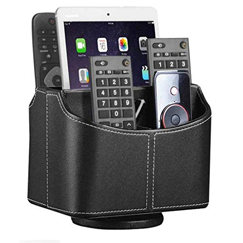 Leather Remote Control Holder 360 Degree Spinning Desk TV Remote Caddy/BoxBedside Table Organizer for Controller Media Mail Calculator Mobile Phone and Pen Storage