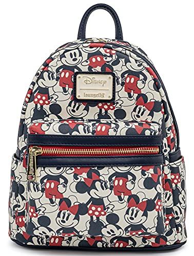 Loungefly Disney Mickey Minnie Mouse Mini Backpack Handbag AOP Red Navy