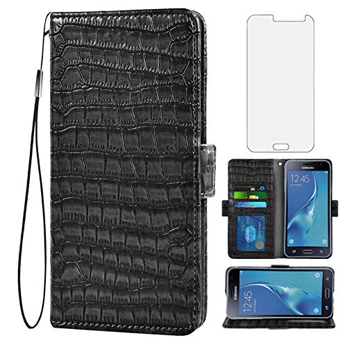 Asuwish Compatible with Samsung Galaxy J3 2016/J 3 V/J36V/Sky/Amp Prime Wallet Case with Tempered Glass Screen Protector and Flip Cover Card Holder Cell for Glaxay Sol J3V JV3 J36 6 J320V J320A Black