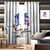 Waterproof Window Curtain Animated Cartoon Cartoon Sonic The Hedgehog Logo Fictional Character Animation Graphics Font Brand for Kid's Bedroom Bathroom Kitchen Small Window Width 160cm x HIGH 160cm