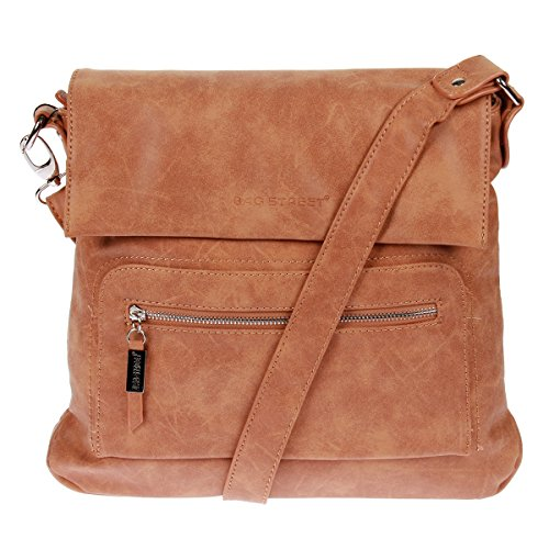 Schultertasche Used Look Handtasche Umhängetasche Shopper Tasche Bag Street (Cognac)