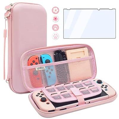 BRHE - Funda de viaje para Nintendo Switch Accesorios Hard Portable Protective Bundle Case Case Shock/Water Proof Shell con protector de pantalla de cristal y tapas de agarre para pulgar (rosa)