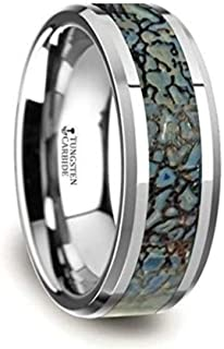 Thorsten Devonian Blue Dinosaur Bone Inlay on Tungsten Carbide Wedding Band Beveled Edged Ring 8mm Custom Personalized Inside Engraved from Roy Rose Jewelry