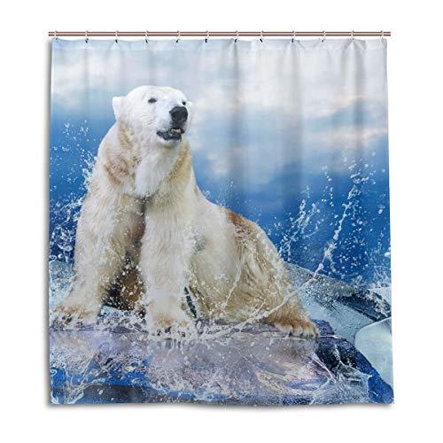 vinlin Duschvorhang Eisbär Jäger, wasserdicht, 167,6 x 182,9 cm, Weiß, Polyester, Multi, 66x72 inch