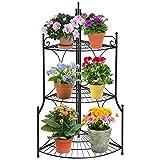 DOEWORKS 3 Tier Folding Plant Stand Pot Rack & Metal Corner Shelf, Storage Shelves for Living Room Bedroom