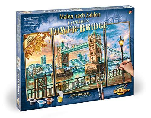Schipper 609260752 - Malen nach Zahlen - London Tower Bridge - Bilder malen für Erwachsene, inklusive Pinsel und Acrylfarben, Triptychon 50 x 80 cm