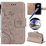 Etsue Kompatibel mit Samsung Galaxy S3 Mini Handy Hülle Schmetterling Blumen Muster Flip Case Cover Schutzhülle Wallet Tasche Leder Hülle Bookstyle Klapphülle Magnetisch Ständer Kartenfächer,Grau