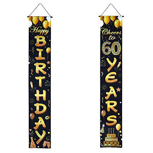 Decoración Fiesta de 60 Cumpleaños 2Piezas Pancarta 60 Cumpleaños Cartel Guirnalda Feliz Cumpleaños 60 Años Happy 60th Birthday Photocall Jardín Puerta Pared Porche Photo Booth Props