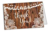 25 Lace Wood String of Lights Rustic Folded Thank You Cards with Envelopes, 4x6 Folded, Tented, Bulk, Perfect for: Wedding, Bridal Shower, Baby Shower, Birthday or Special Event