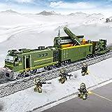 HE-XSHDTT Binario del Treno Elettrico Militare, Set di trenini Classici per Bambini, con Faro, Fumo, Suoni realistici, Regalo di Natale,Missile Train