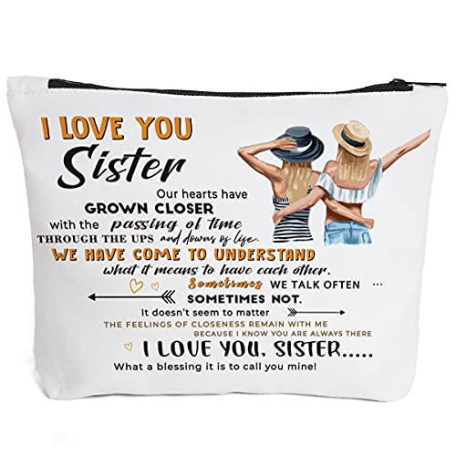 To My Sister Gifts, Sister Birthday Gifts from Sister,Friends, Sister Gifts from Sisters-I Love You Sister-Sister Makeup Bag, for Birthday, Graduation Best Friends Ever Personalized