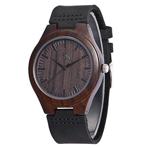 Juhaich bambú madera reloj cabeza de ciervo/negro natural de madera de sándalo Dermis madera reloj de pulsera movimiento de cuarzo japonés para hombres (Classic)