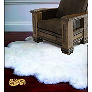 Plush Faux Fur Sheepskin Throw Rug – Shaggy Sexto Multi Pelt – Shag – Soft Flokati – Bedroom – Nursery – Lining Room – Den – Off White – Soft Ultra Suede Backing