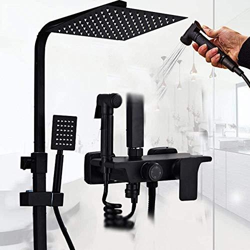Ccgdgft badkamerthermostaat, douchesysteem, regendouche Mixer Set met vierkante douchekop, handdouche en badafvoerkraan, muurbevestiging, chroom afwerking, zwart