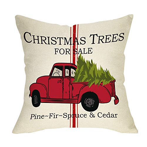 Pycat Christmas Trees for Sale Throw Pillow Cover 18 x 18 for Sofa Couch Winter Holiday Decoration Merry Xmas Farmhouse Home Decor Vintage Red Truck Decorative Pillowcase Cotton Linen Cushion Case