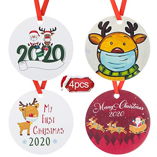 HICOSKY 2020 Christmas Ornament, Santa Clause Wearing Mask Toilet Paper Tree Hanging Ornaments Home Party Holiday Decorations Xmas Gifts 4PCS-D