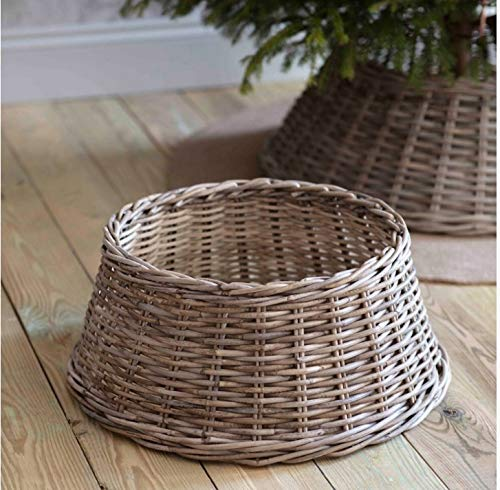 Tree skirt for the base of your Christmas tree - wicker skirt stand willow wood rattan - elegant conical shape - ideal for fake and real trees - natural colour (50cm)