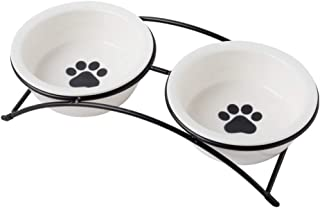 ZONEYILA Cat Food Dish, Elevated Cat Food Water Bowls,Raised Cat Bowls with Stand,Ceramic Pet Bowls, Shallow Cat Dish, Dog...