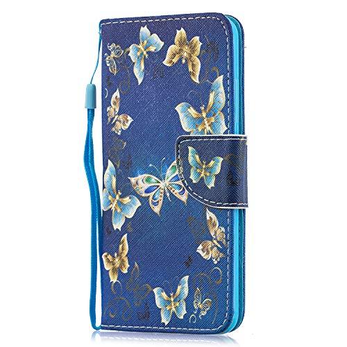 Funluna Hülle für Xiaomi Mi 8 Lite, Lederhülle Stoßfest Klapphülle Brieftasche, Trageschlaufe, Ständer, Kartenfächer, Magnetverschluss Handy Shell für Xiaomi Mi 8 Lite, Gold Schmetterling