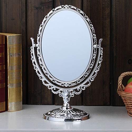 Hosoncovy Espejo de mesa giratorio de doble cara con soporte ovalado de escritorio de alta transparencia, espejo de maquillaje cosmético espejo decorativo (plata)