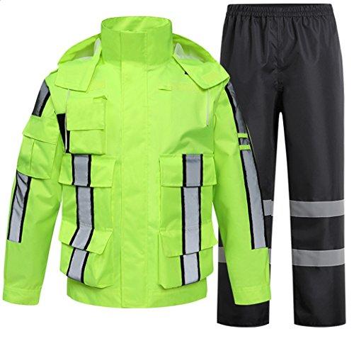SK Studio Hohe Sichtbarkeit Erwachsenen Regenjacke Arbeit Regenanzug Wasserdicht Atmungsaktiv Reflektierend Sicherheitsjacke Warnschutz Regenbekleidung Neongrün 2 XL