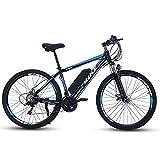 TDHLW Bicicleta Eléctrica de Montaña para Adultos de Gran Tamaño, 400W eBike 36V 8Ah / 10Ah Batería de Litio Extraíble Impermeable Bicicleta Eléctrica 7 Velocidades Doble Amortiguador,Azul,29in