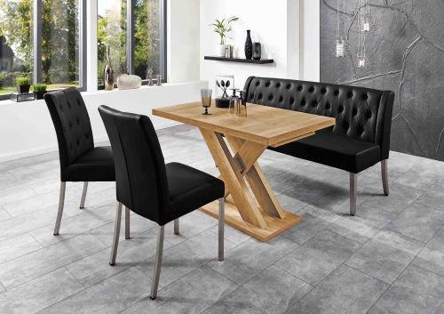 Moebelstore24 Tafelset Manchester tafel + zitbank + 2 stoelen zwart honing eik decor