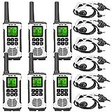 Retevis RT45 Walkie Talkie Recargable, PMR446, VOX Linterna, 10 Tonos de Llamada, Monitor Escaneo, Dual Watch, USB Carga (6 Piezas), Retevis Auricular (6 Piezas)