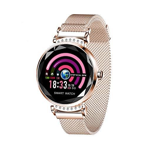 AOCKS H2 Smart Watch Blood Pressure Heart Rate Monitor Sport Waterproof Bracelet New Fitness Tracker (Gold)