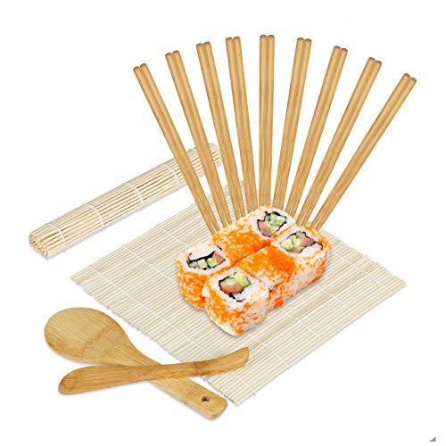 Relaxdays Sushi Set Bambus, 2 Sushi Matten, Reislöffel, Reisportionierer, 10 Paar Essstäbchen, Sushi Zubehör, natur 10028007