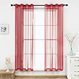 Bermino Red Sheer Curtains Voile Grommet Semi Sheer Curtains for Bedroom Living Room Set of 2 Curtain Panels 54 x 84 inch