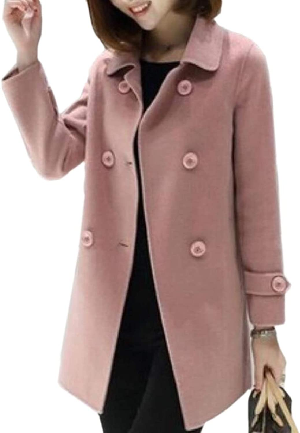 RGCA Women's DoubleBreasted Solid Casual Lapel Wool Blended Pea Coat