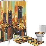 Juego de cortinas baño Accesorios baño alfombras Vino Alfombrilla baño Alfombra contorno Cubierta del inodoro Estilo de pintura colorida Botellas de vino con pinceladas vívidas Bebidas Obra de arte De