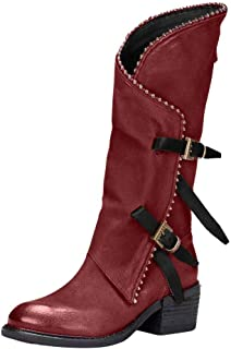 Slouchy Boots for Women,Forever Stylish Comfortable Under Knee High Almond Toe Western Boots with Double Buckle