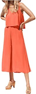 Mogogo Womens Casual Sleeveless V-Neck Solid Colored Sling Jumpsuit Trousers