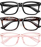 Blue Light Filter Glasses Unisex Nerd Non-prescription Clear Lens Fake Glasses (Black+Yellow Leopard+Pink)