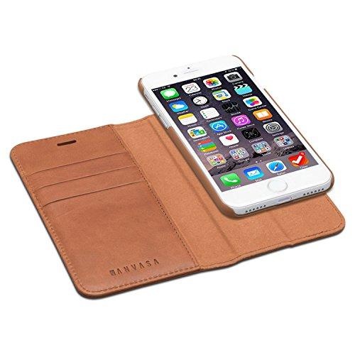 KANVASA iPhone 8 Ledertasche/iPhone 7 Ledertasche 2 in 1 Lederhülle Braun Luxus Echtleder Hülle Leder Tasche Flip Cover für Original Apple iPhone 8 und 7 - Wallet Hülle mit herausnehmbarem Backcover