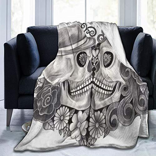 QIUTIANXIU Mantas para Sofás de Franela 150x200cm Cráneo de Arte gótico con Sombrero Día de Todos los Santos Festival de la Cultura de México Ilustración Floral Manta para Cama Extra Suave