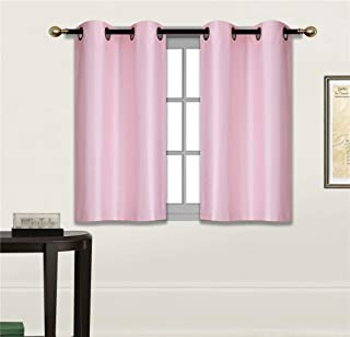 Fancy Linen 2 Panel Faux Silk Blackout Curtain Set Solid Light Pink with Grommet Top Room Darkening Short Tier Drapes for Kitchen, Bathroom or Any Small Window New