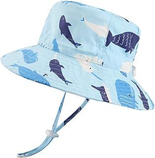 LACOFIA Sombrero de Sol bebé Gorro Verano para niñosSombrero Playa de ala Ancha Proteccion Solar para niños con Correa Aj...