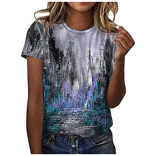 YANFANG Camisetas Sin Mangas con Cuello Redondo Y Estampado para Mujer Entrenamiento Sueltas Ocasionales Camiseta Moda GeoméTrico Retro Parte Superior Blusa Casual Suelta T-Shirt2-NegroXL