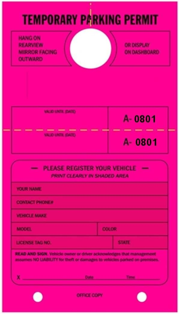 Temporary Parking Permit - Mirror Animer and price revision with sold out Numbered Hang Tear- Tags