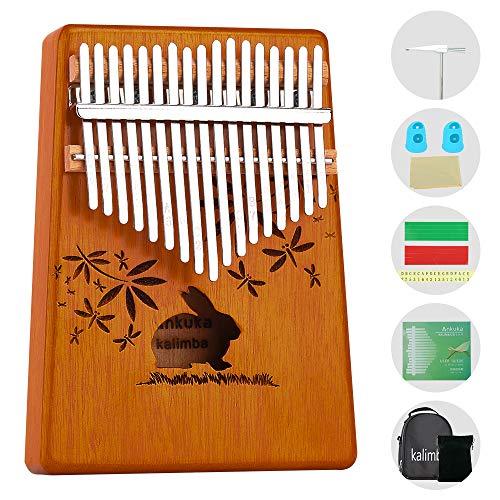 Kalimba 17 Schlüssel Daumenklavier, Ankuka Finger Klavier Mahagoni Instrument, Afrikanisches Marimba Sanza Mbira mit Stimmgerät, Geschenk zum Geburtstag für Kinder, Freund, Anfänger, Gelbes Kaninchen