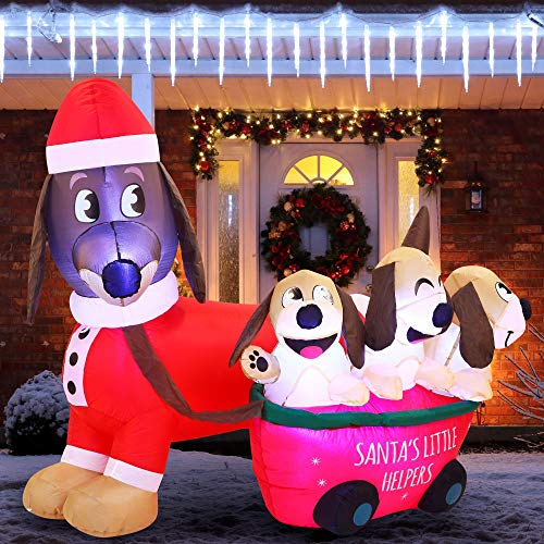Joiedomi 5 FT Long Puppy Inflatable with Built-in LEDs Blow Up Inflatables for Xmas Party Indoor, Outdoor Yard Garden, Lawn Winter Decor.