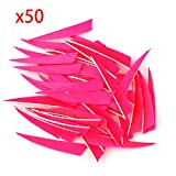 VERY100 50 Stück Naturfedern Federn Shield Cut 4' RW Truthahnfedern Pfeilfedern (Rosa)