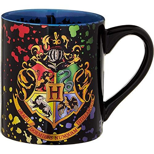 Silver Buffalo HP113932Z Harry Potter Hogwarts Crest Splatter ceramic Mug, 14 Ounces, Multicolor