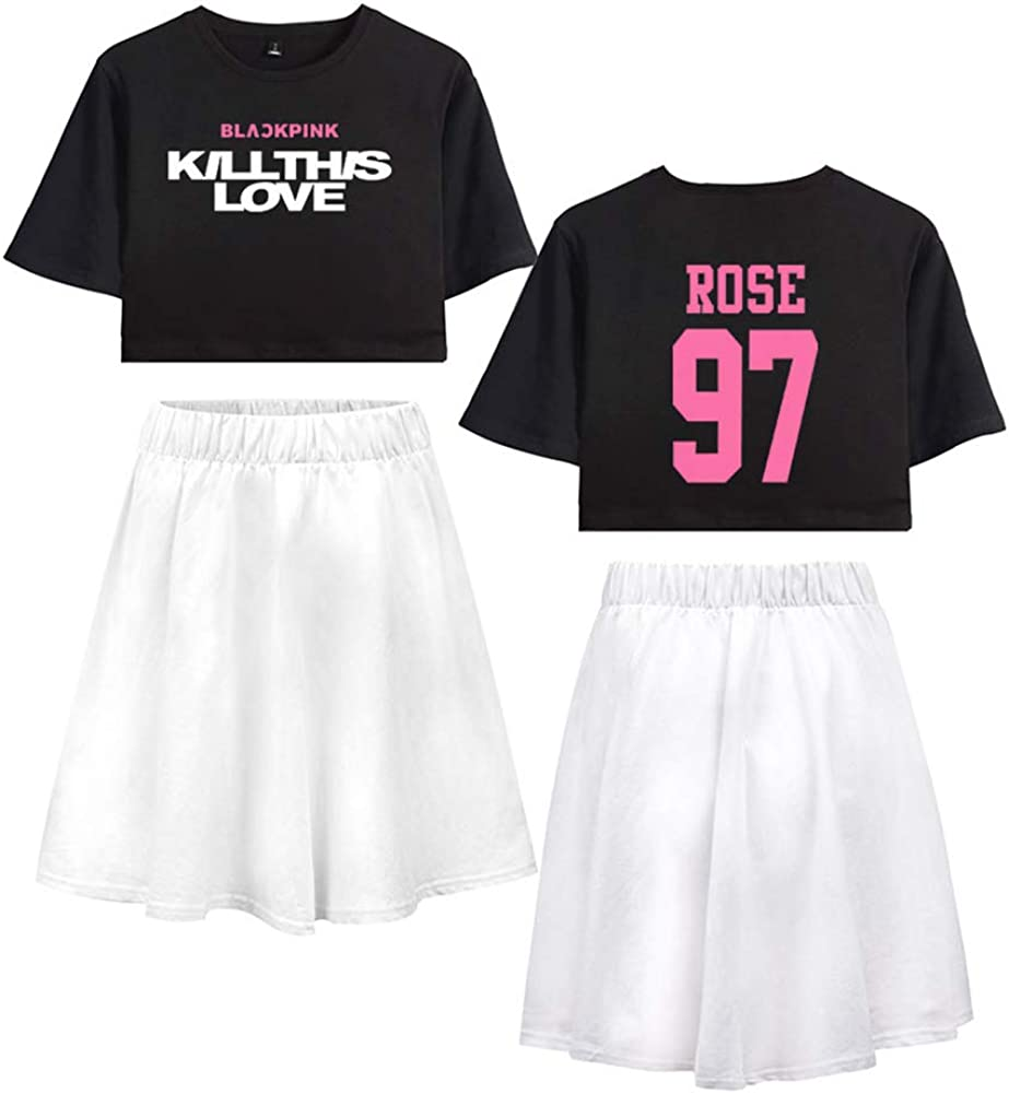 Kpop Blackpink Kill This Love Sportwear Top /& Kurze R/öcke Bekleidungssets f/ür Damen/Sportswear-Sets T-Shirts und R/öcke Set Damen Teenager M/ädchen