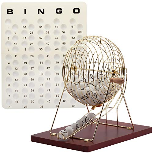 Professional Bingo Game Set. Including Extra Large Brass Bingo Cage, 1.5-Inch Ping Pong Style Bingo Balls, Plastic Masterboard (Wooden Base Cage Set)