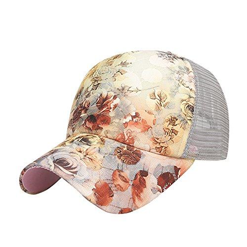 Libertepe Damen Blumendruck Kappe Netz Atmungsaktiv Cap für Sport,Outdoor,Camping in fünf Farben