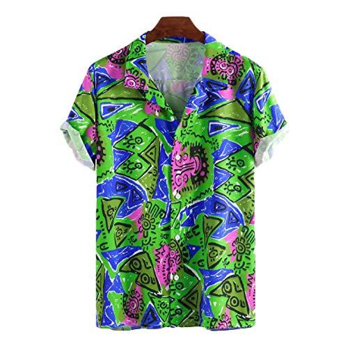 Camisa de Manga Corta con Personalidad para Hombre, Estampado de Bloques de Color, Viajes al Aire Libre, Camisas Hawaianas cómodas Informales y relajadas XXL